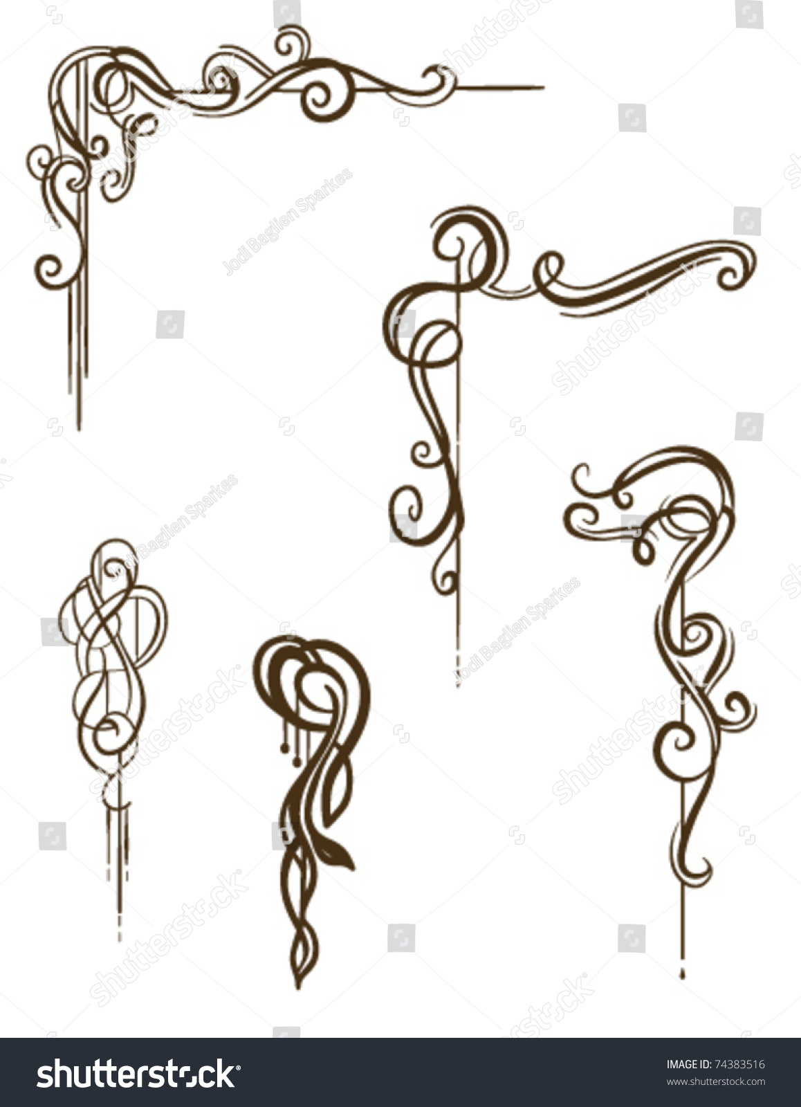 Vintage style ornaments - Vector Scroll Collection Hand Drawn Vintage Style Ornaments Scrolls