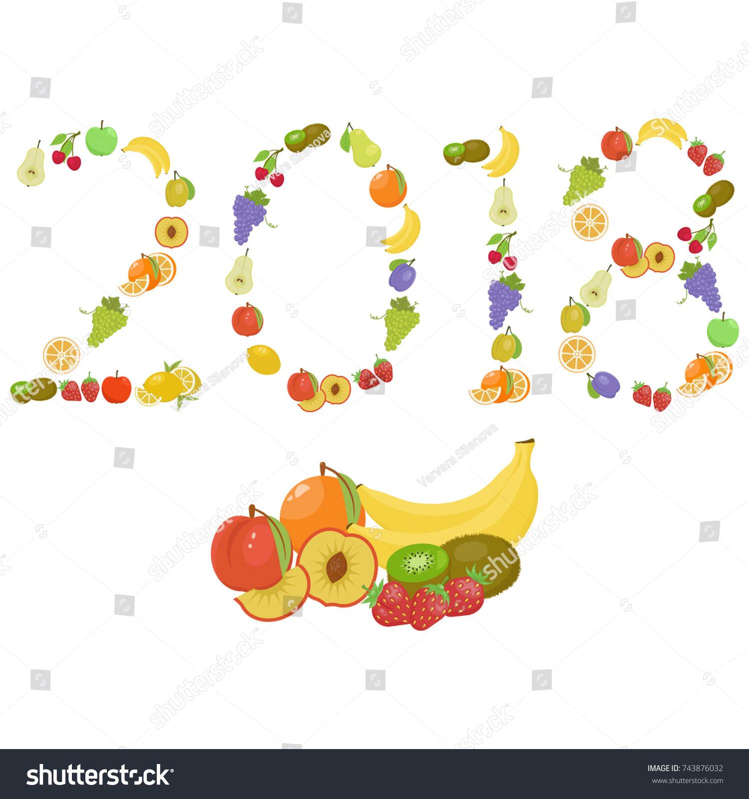 happy new year 2018 of fruit