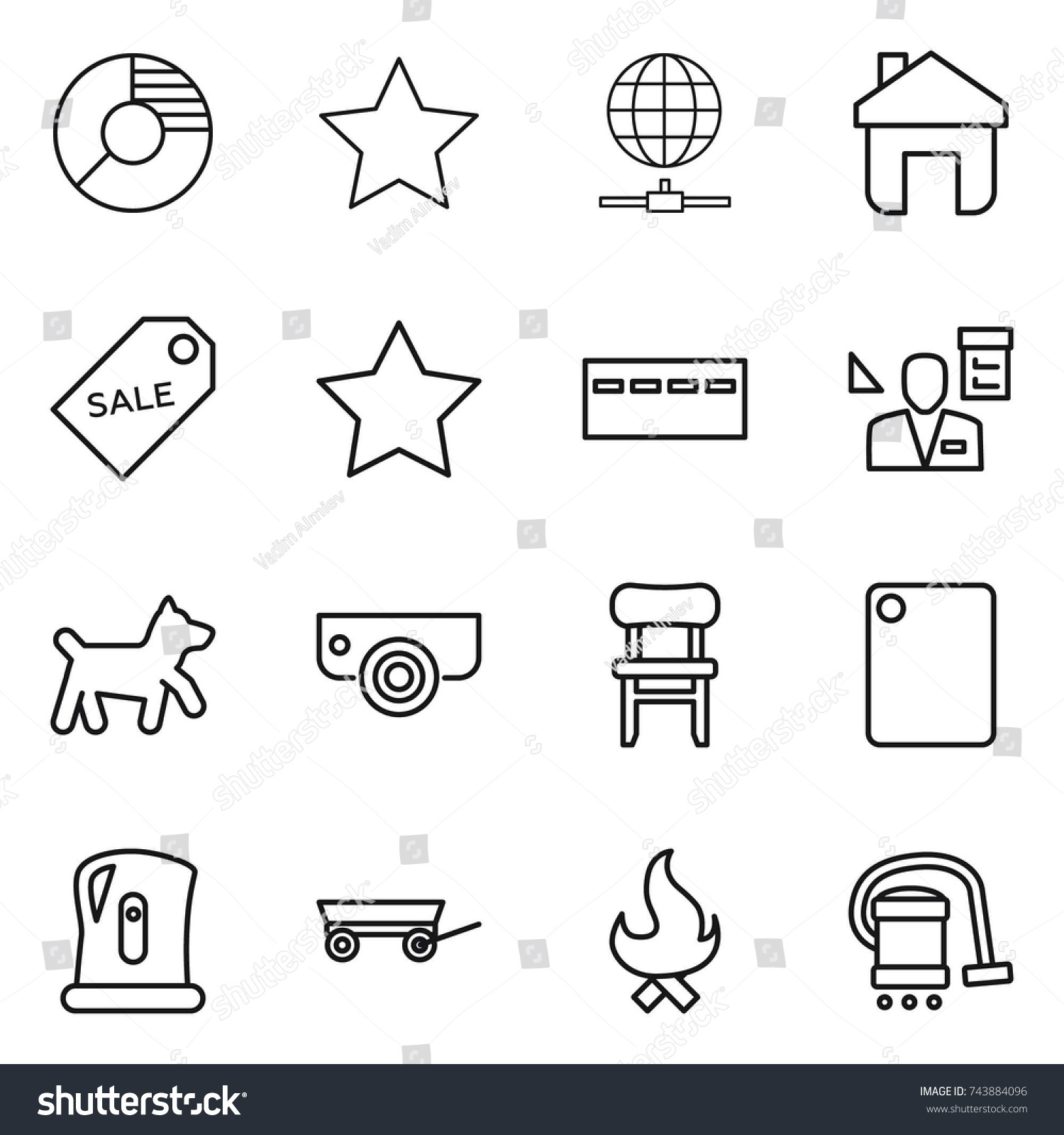 Thin line icon set circle diagram stock vector 743884096 shutterstock ccuart Gallery