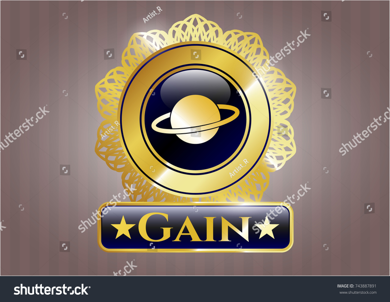 Gold shiny badge planet saturn icon stock vector 743887891 gold shiny badge with planet saturn icon and gain text inside buycottarizona Image collections