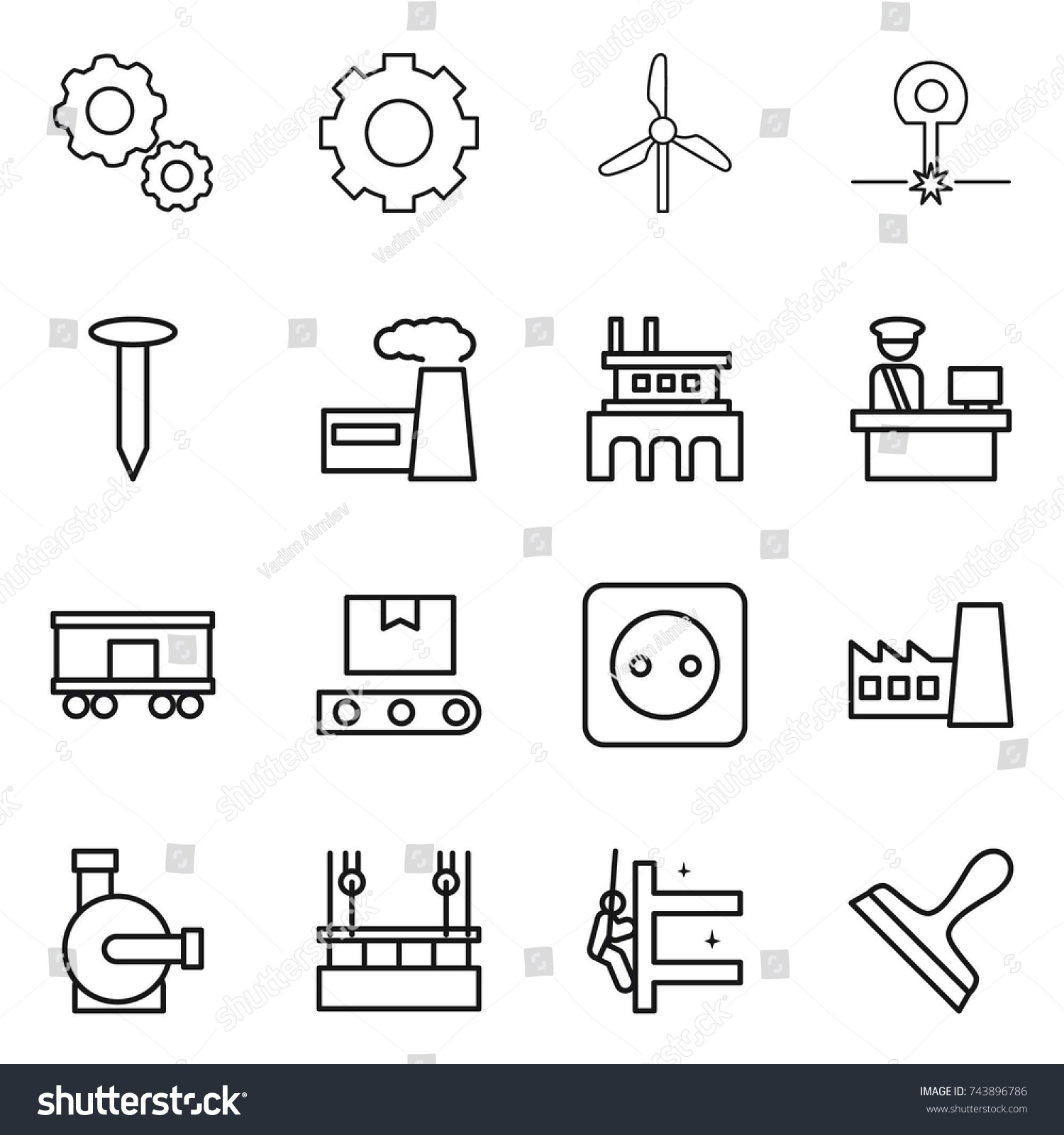 Thin line icon set gear windmill stock vector 743896786 shutterstock thin line icon set gear windmill laser nail factory customs pooptronica Gallery