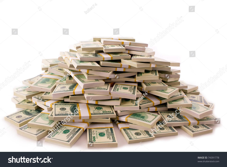 Big Pile Money Dollars Over White Stock Photo 74391778