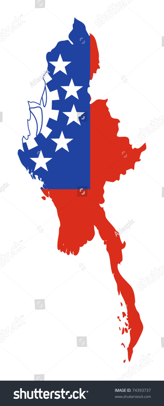 Illustration Of Burma Or Myanmar Flag On Map Of Country; Isolated On White Background ...