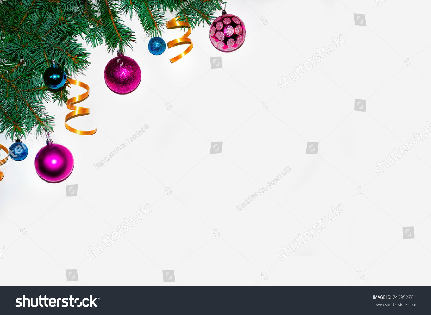 christmas background frame made of fir branches new years toys wallpapers flat