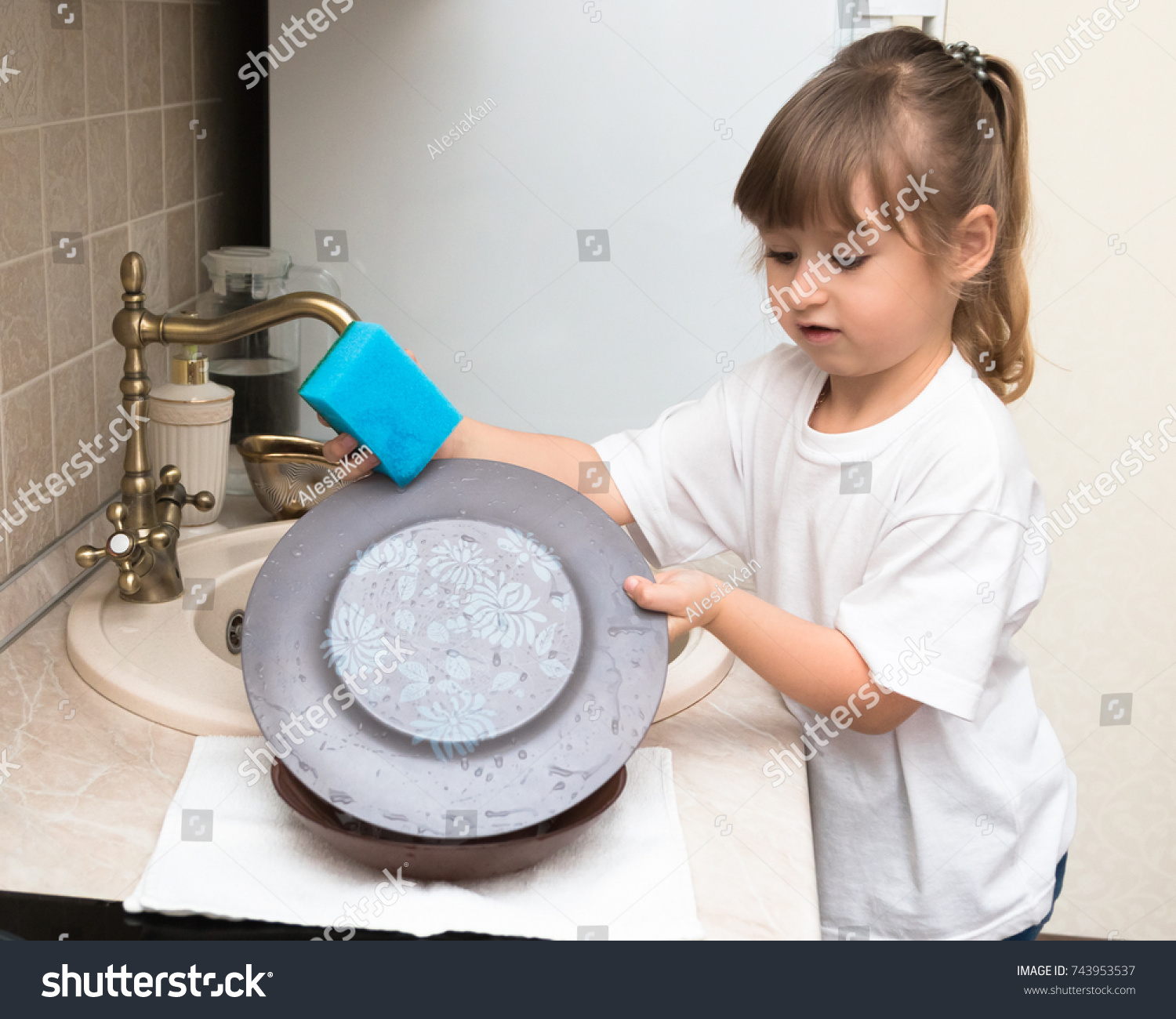 Little Cute Little Girl Four Years Stock Photo (Royalty Free ...