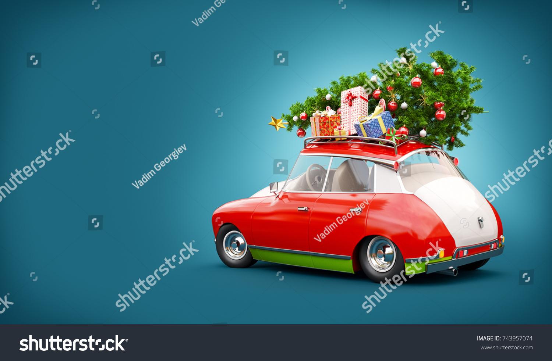 Unusual 3d Illustration Red Santas Car Stock Illustration