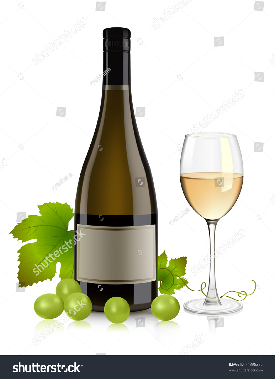 White Wine Bottle, Glass And Grape Stock Vector ...