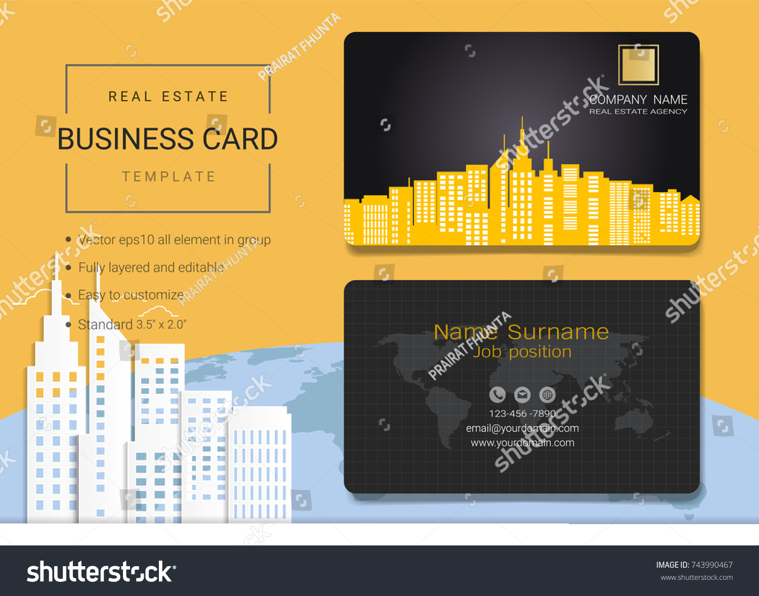 Real estate business card name card stock vector 743990467 real estate business card or name card template simple style also modern and elegant with magicingreecefo Images