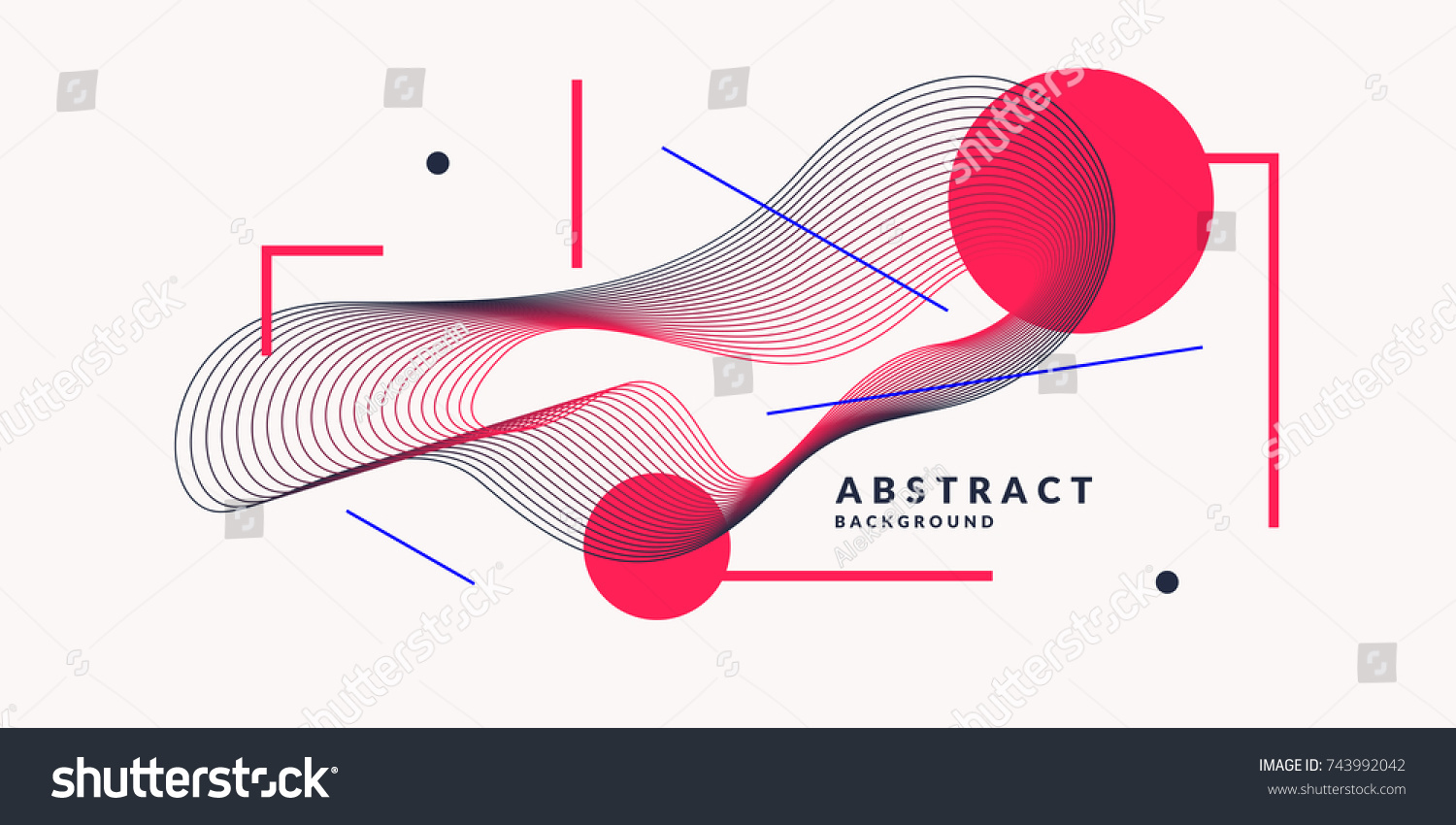 Abstract background with dynamic linear waves. Vector illustration in flat minimalistic style #743992042