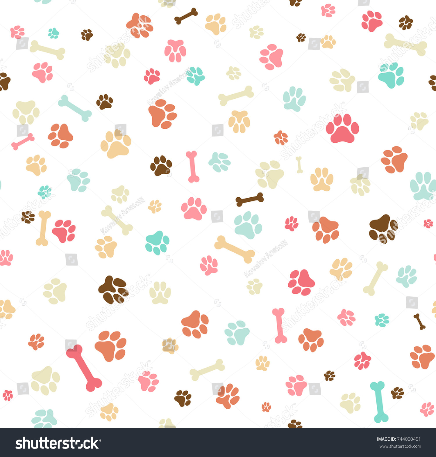 Dog Paw Print Seamless Template Your Stock Vector 744000451 ...