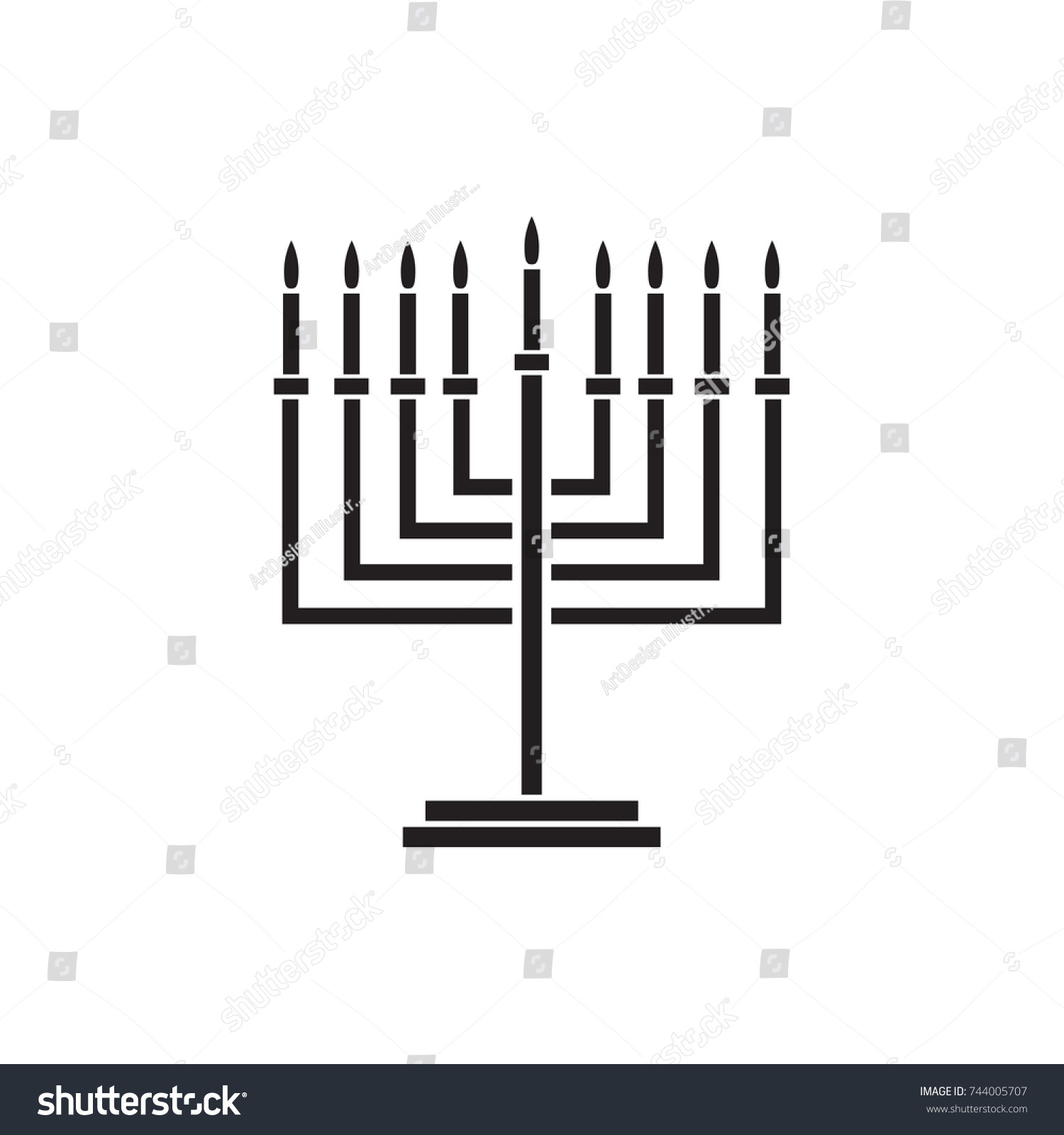 Menorah hanukkah icon jewish holiday symbol stock vector 744005707 menorah hanukkah icon jewish holiday symbol menorah light candelabra with candles silhouette isolated white biocorpaavc Image collections