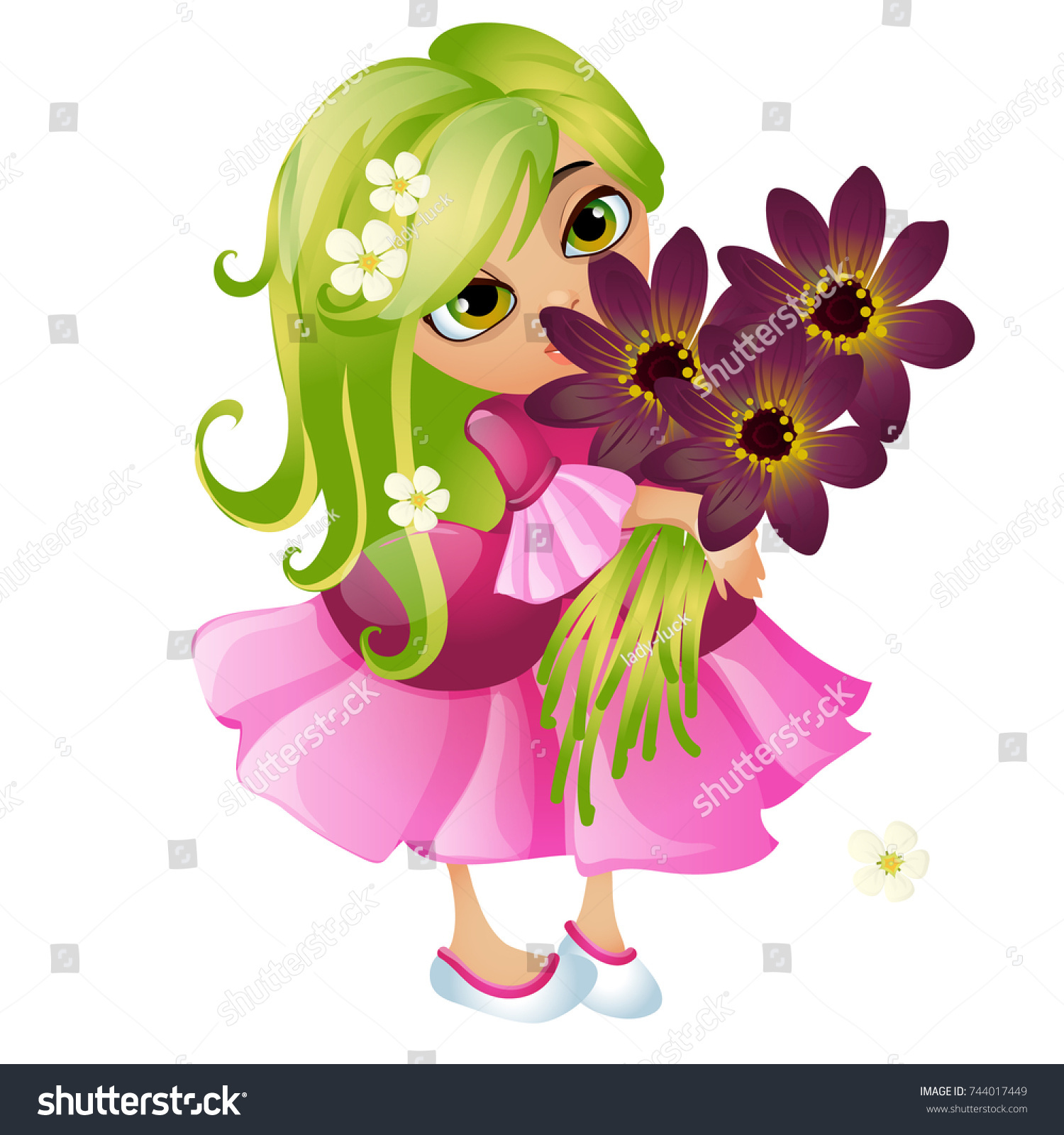 Cute young animated girl green hair stock vector royalty free cute young animated girl with green hair and a bouquet of flowers isolated on white background izmirmasajfo