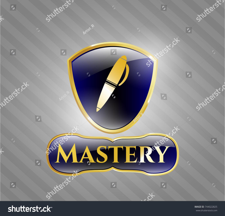 Shiny badge pen icon mastery text stock vector 744022825 shiny badge with pen icon and mastery text inside biocorpaavc Choice Image