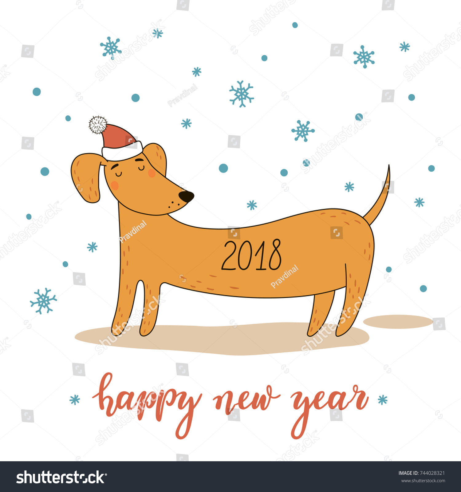 Christmas new year greeting card cute stock vector 744028321 christmas and new year greeting card with cute cartoon dachshund vector illustration is suitable for kristyandbryce Image collections