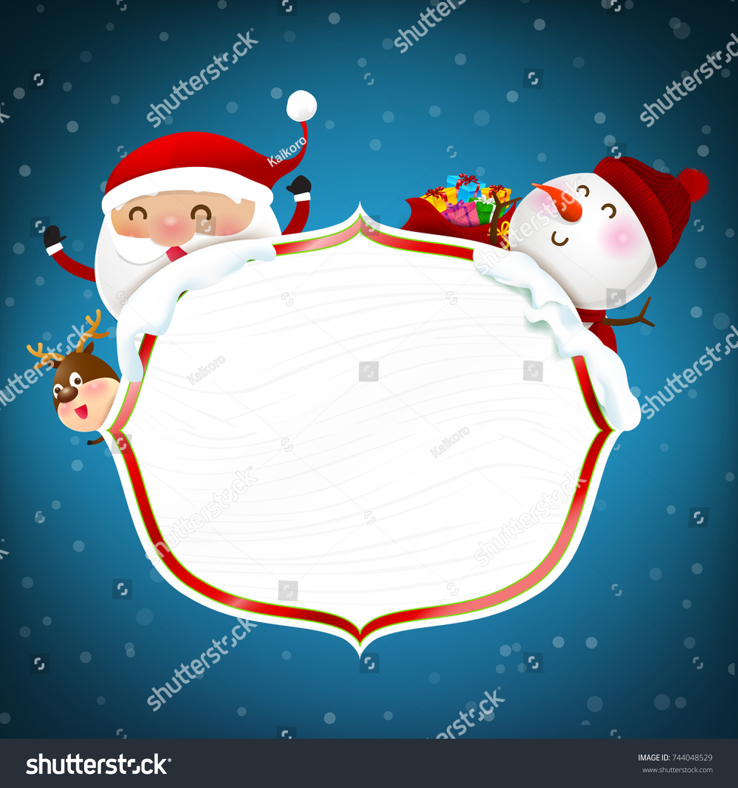 White Wooden Frame Happy Santa Claus Stock Vector (Royalty Free ...