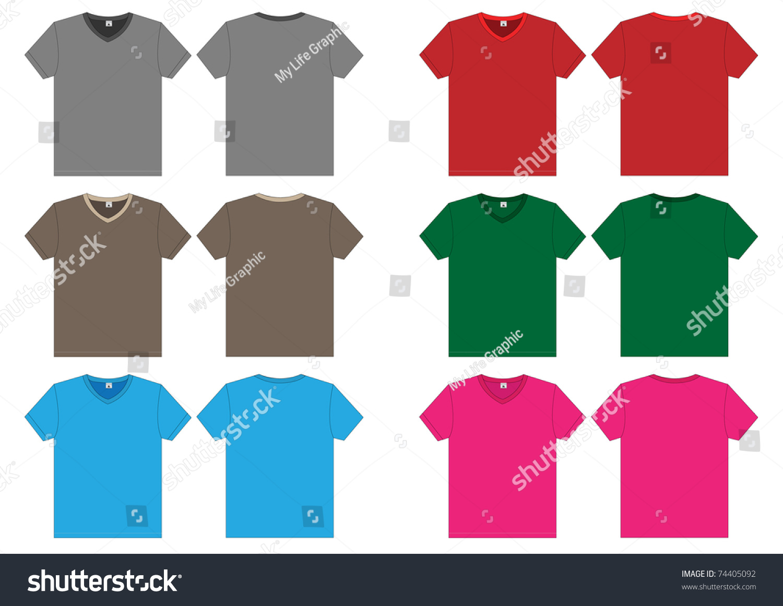 Vneck Tshirt Vector Template Stock Vector 74405092 - Shutterstock