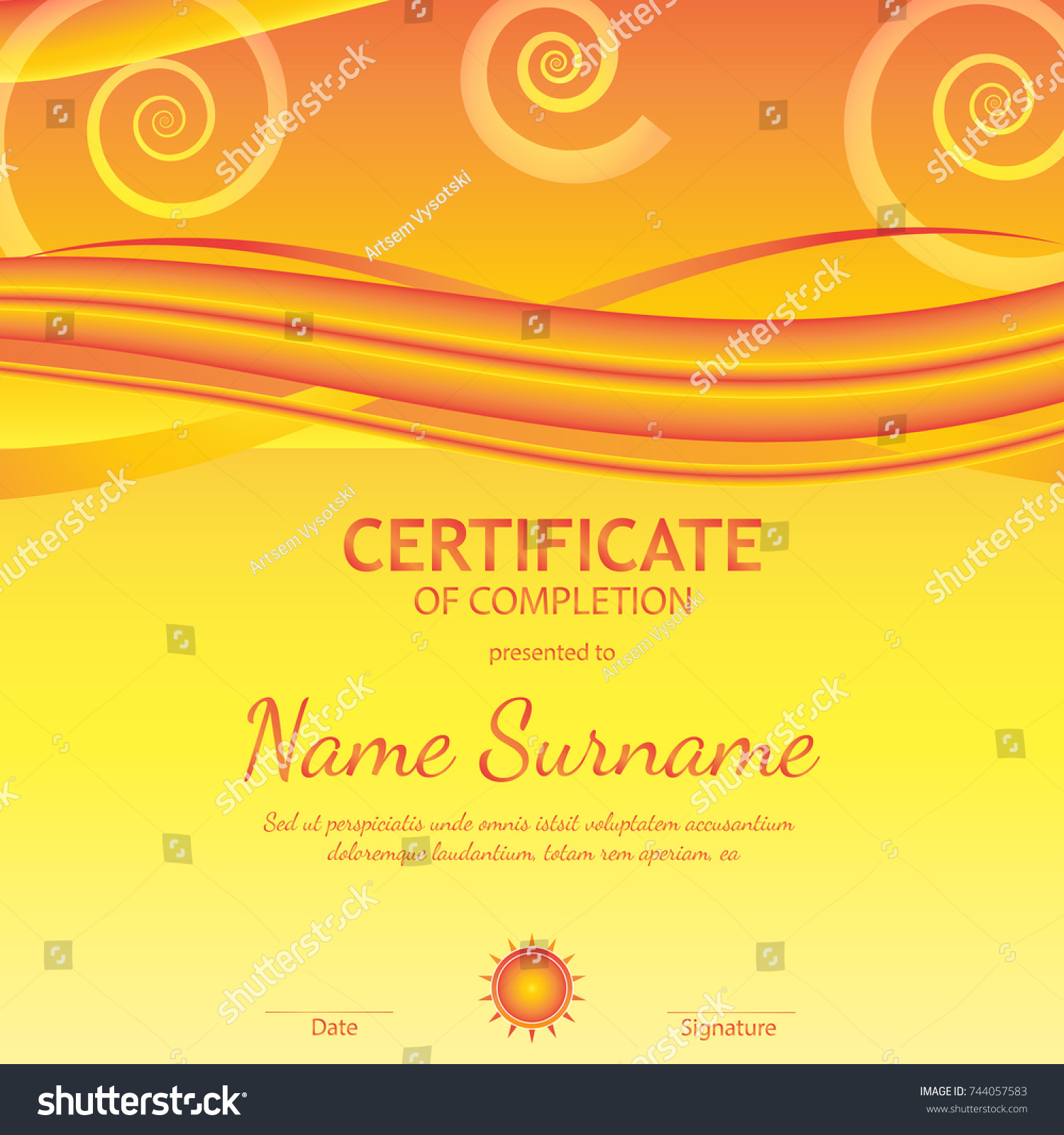 Certificate completion template orange soft wavy stock vector certificate of completion template with orange soft wavy light background vector illustration yadclub Images