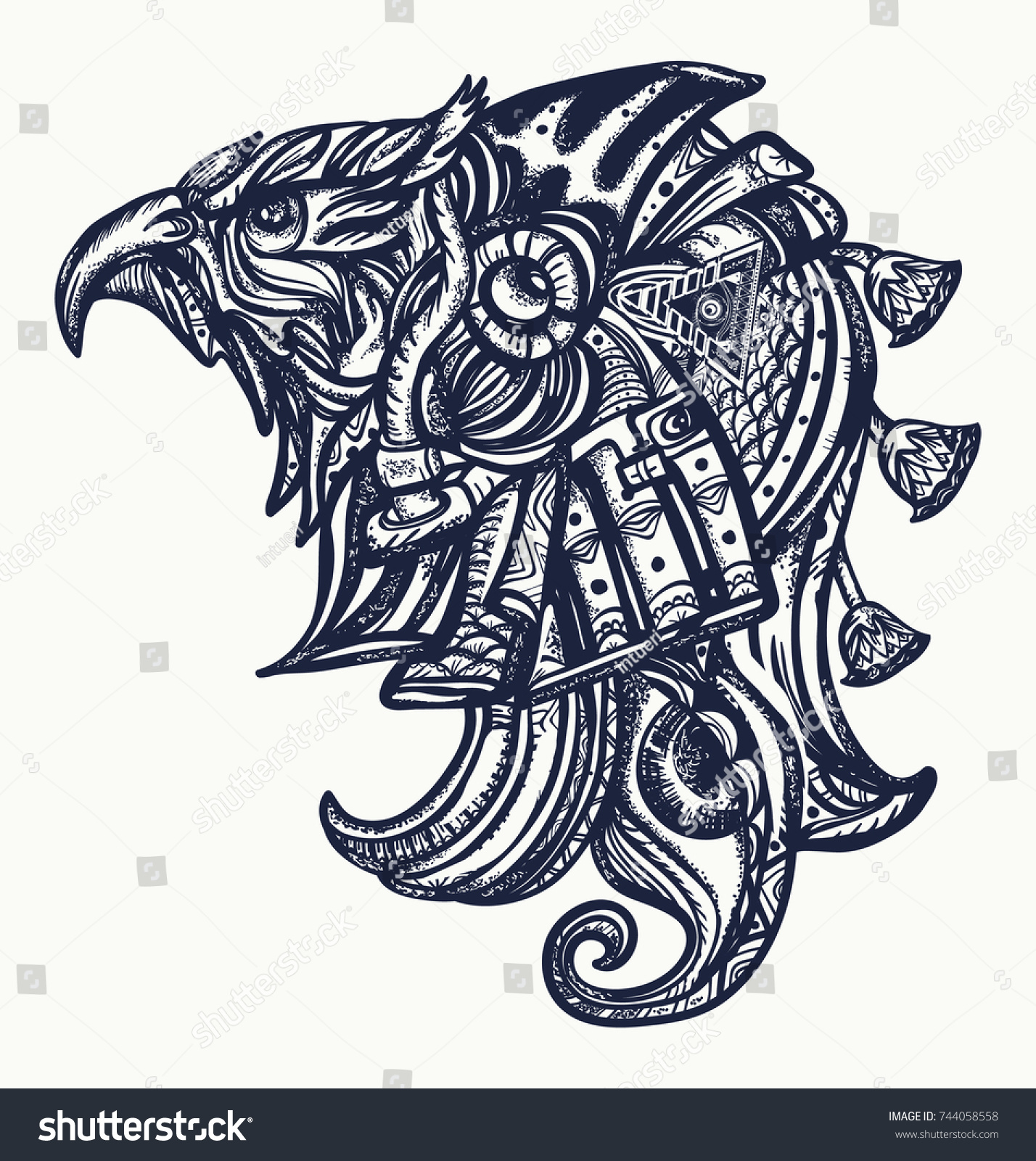 Ancient Egypt Tattoo Tshirt Design Horus Gods Stock Vector Royalty