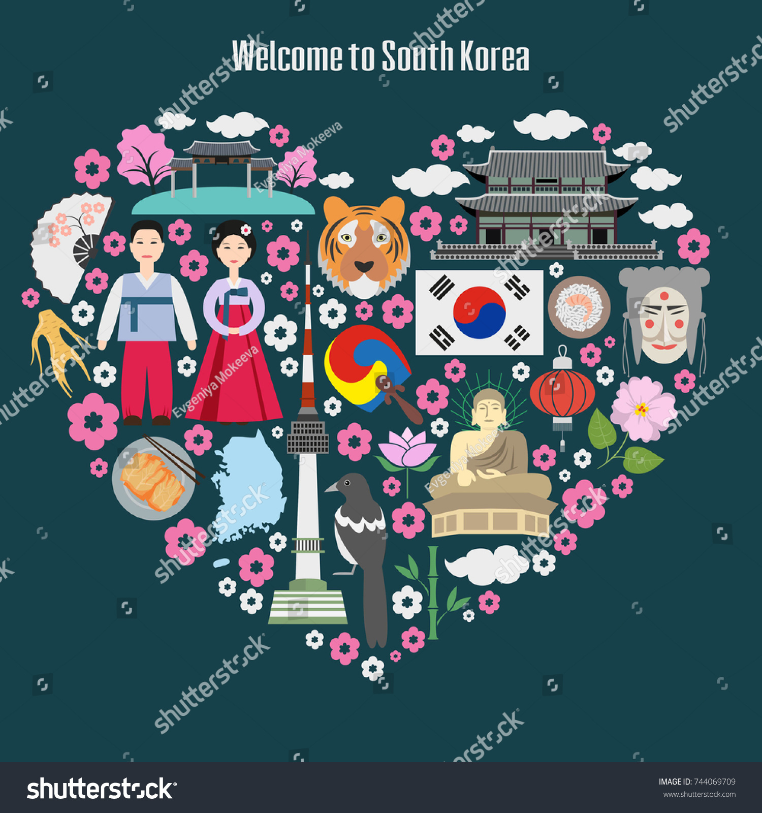 Welcome south korea colorful poster symbols stock vector 744069709 welcome to south korea colorful poster with symbols of south korea heart shape with biocorpaavc Gallery