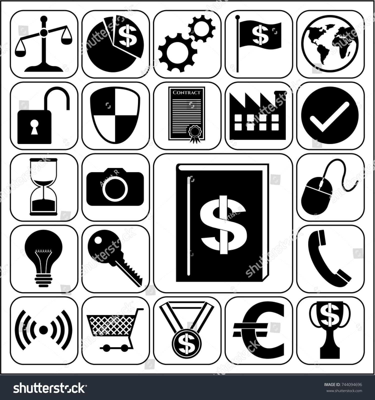 Set 22 Business Icons Symbols Collection Stock Vector 744094696