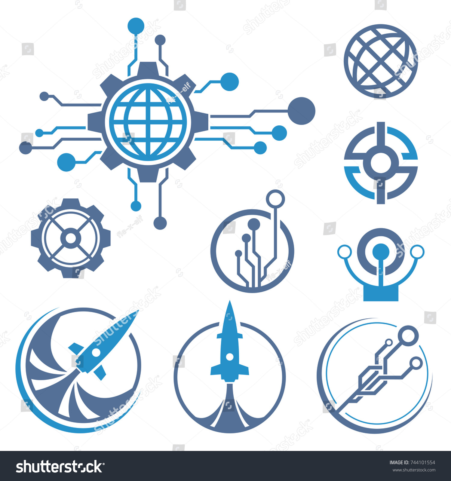 Set Circuit Tech Elements Electronics Icon Stock Vector 744101554 ...