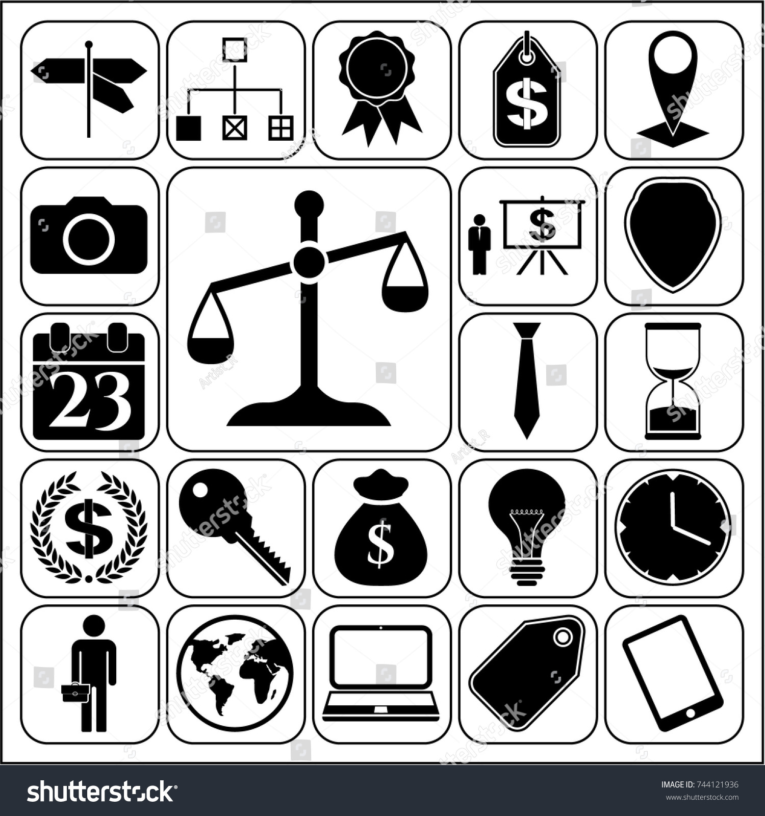 Set 22 Business Icons Symbols Collection Stock Vector 744121936
