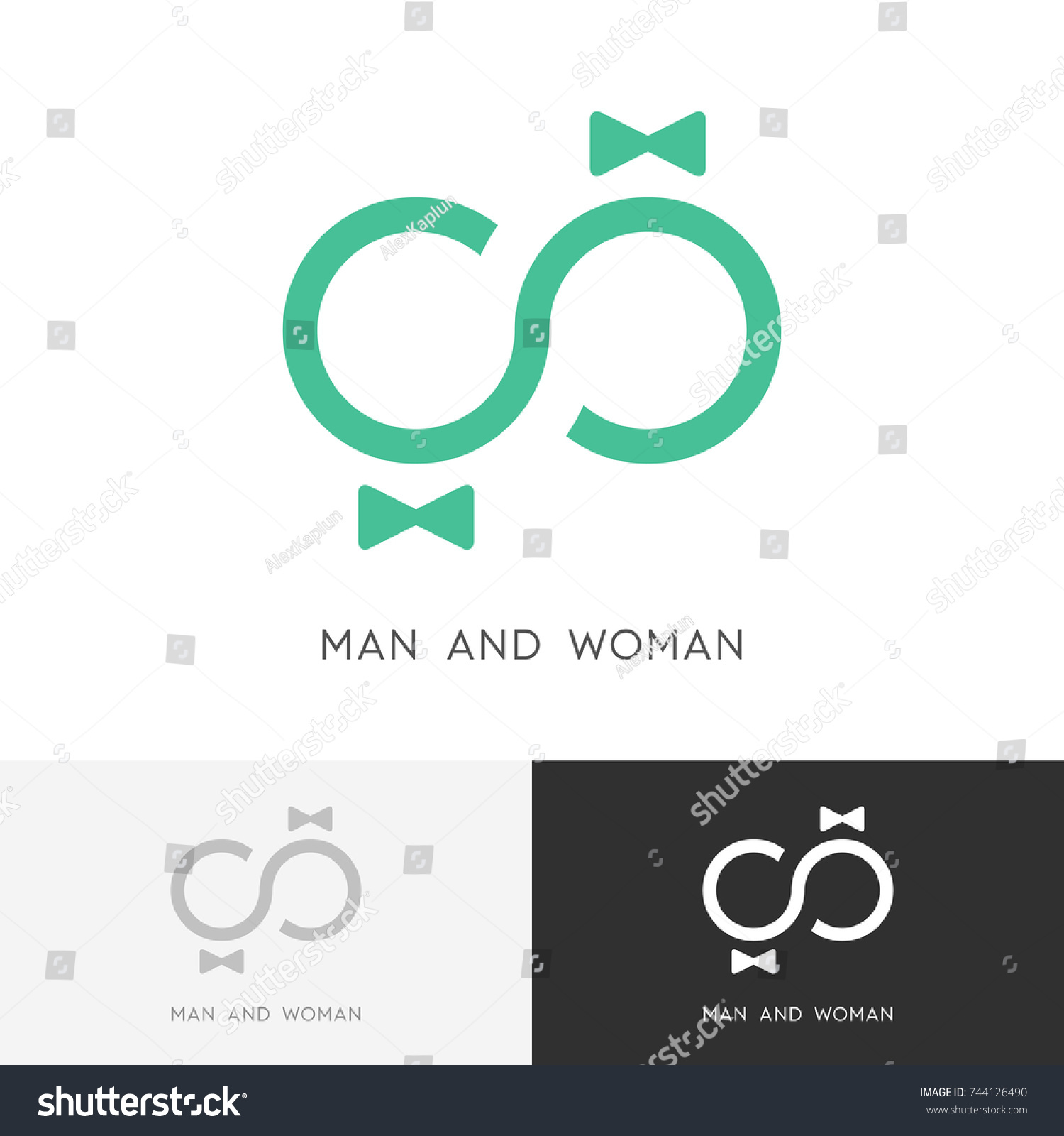 Man Woman Logo Love Couple Infinity Stock Vector Royalty Free