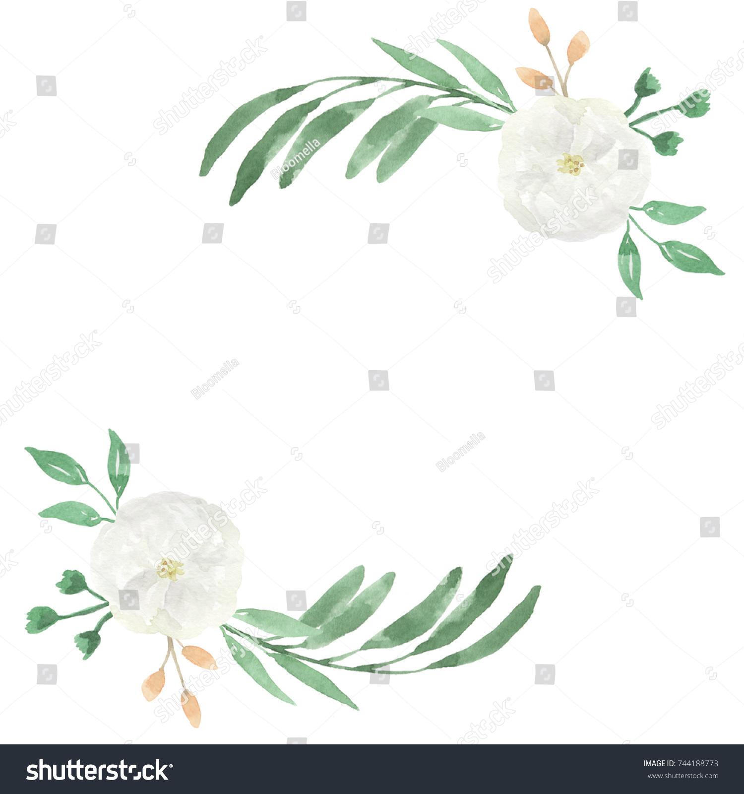 Watercolor White Flower Wedding Garland Wreath Stock Illustration ...