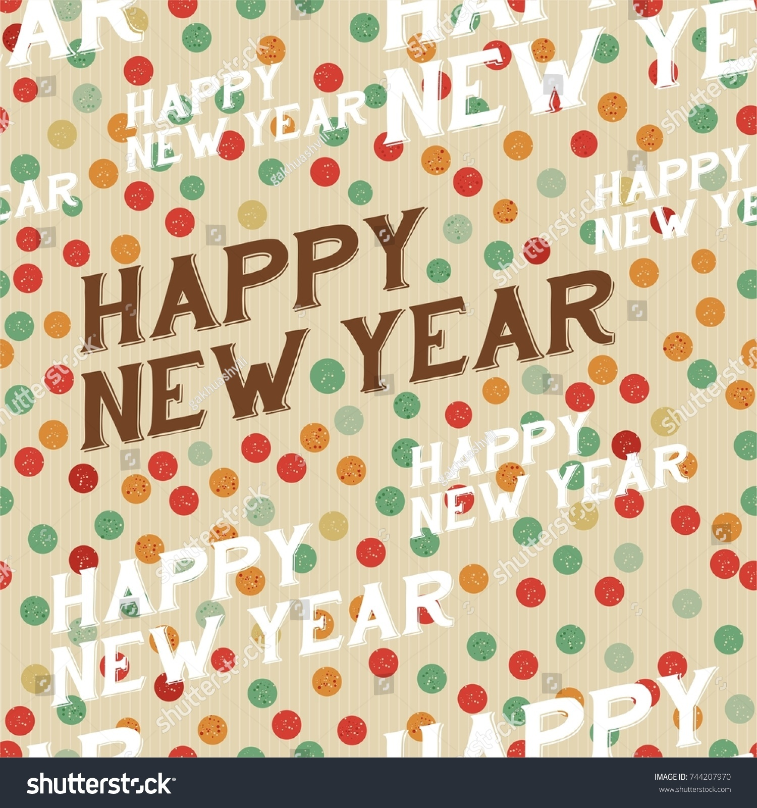 Wonderful vintage vector new year pattern stock vector 744207970 wonderful vintage vector new year pattern with text happy new year ocher craft paper background jeuxipadfo Image collections