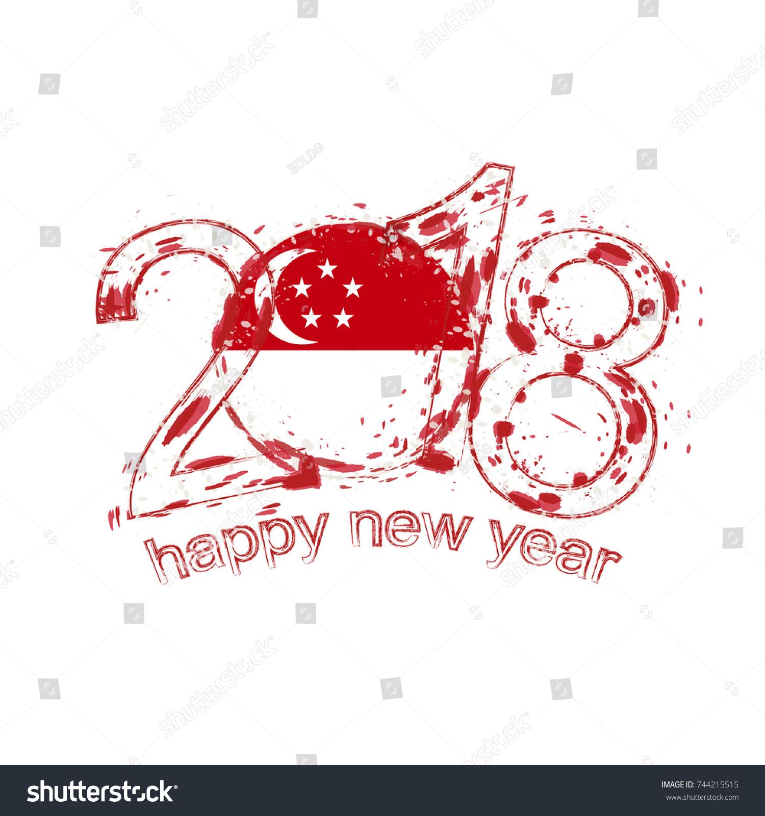 2018 Happy New Year Singapore Grunge Stock Vector 744215515