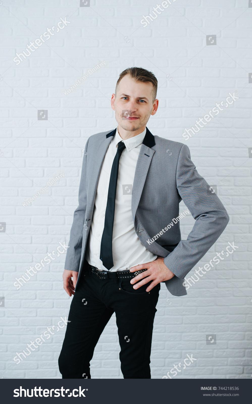 Portrait Confident Handsome Man Grey Suit Stock Photo (Royalty Free ...