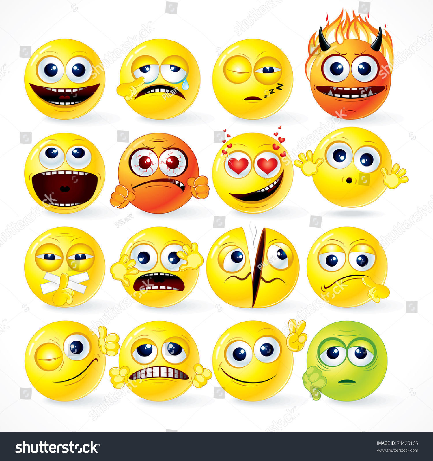 Yellow smileys icon set vector cartoon funky emoticons