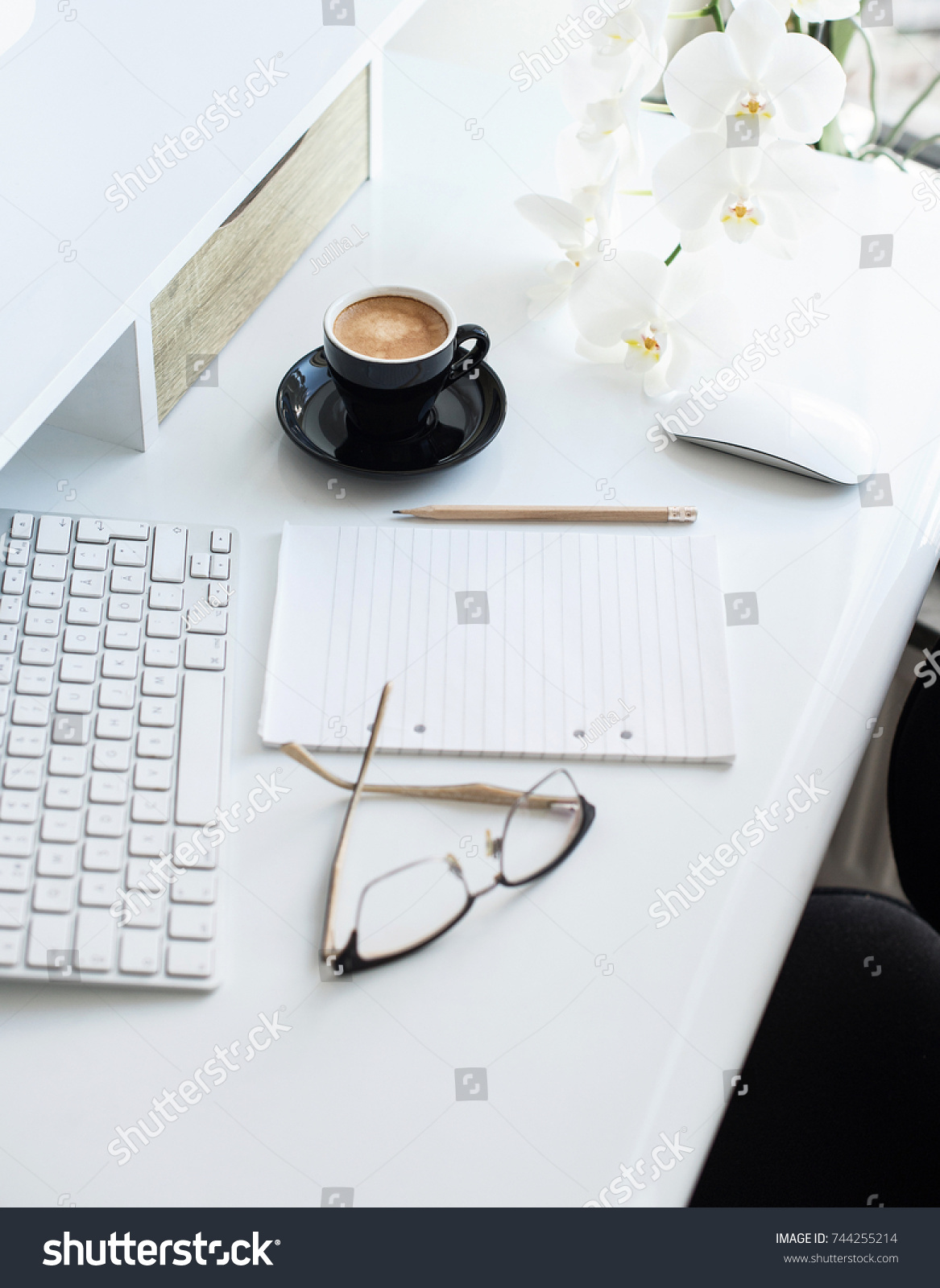 lay laptop page flat mouse view office cup desk with notebook table image modern top supplies other white photo blank coffee stock of