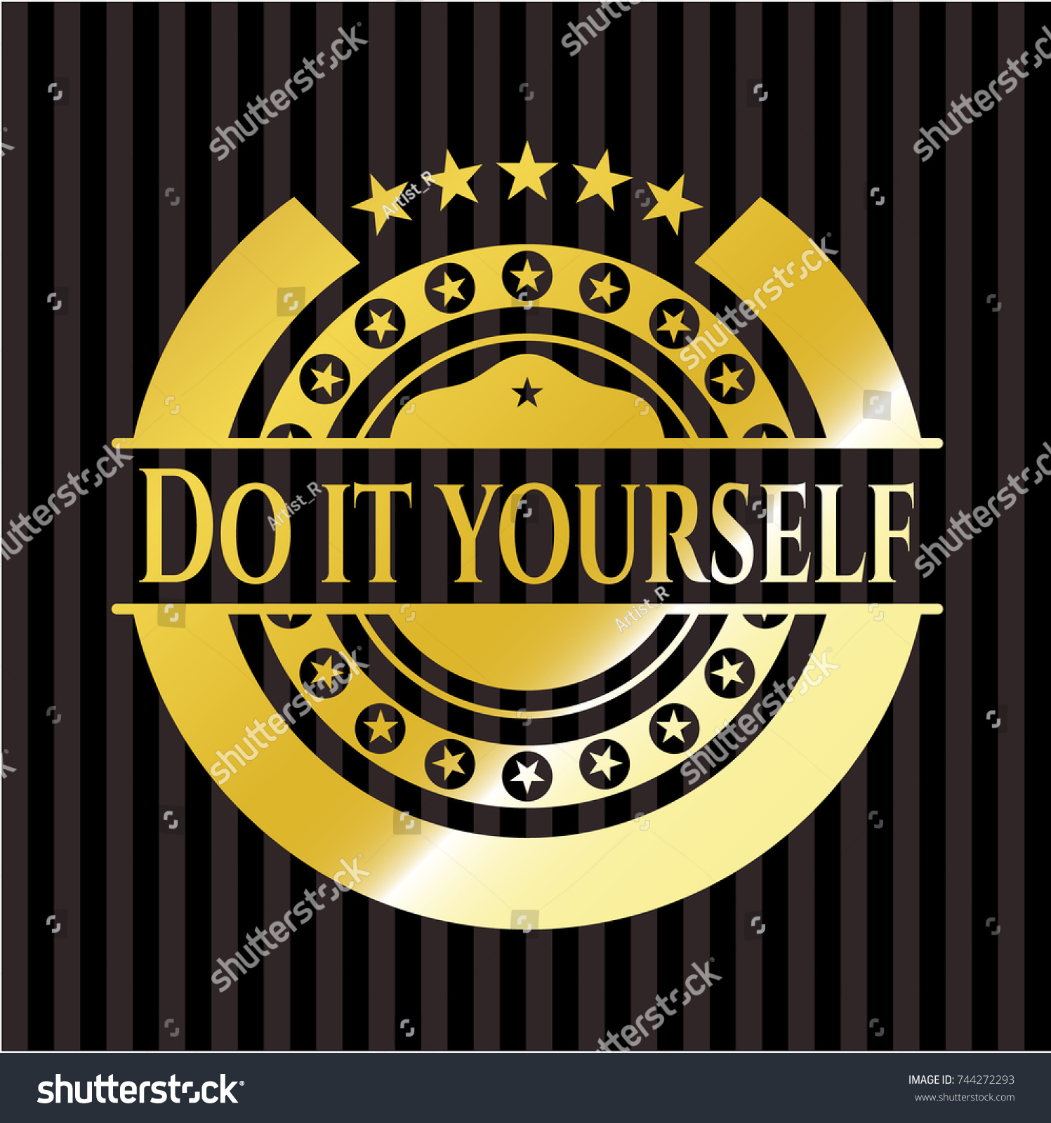 Do yourself gold badge emblem stock vector 744272293 shutterstock do it yourself gold badge or emblem solutioingenieria Image collections