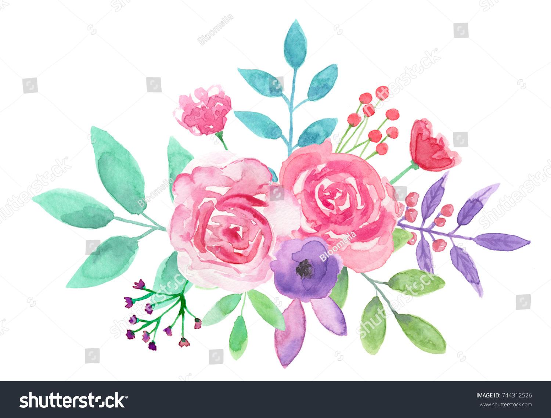 Watercolor Flower Bouquet Pink Floral Arrangement Ez Canvas