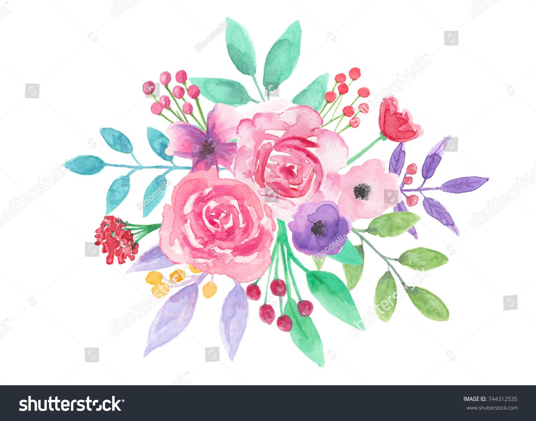 Watercolor Flower Bouquet Pink Floral Arrangement Stock Illustration ...