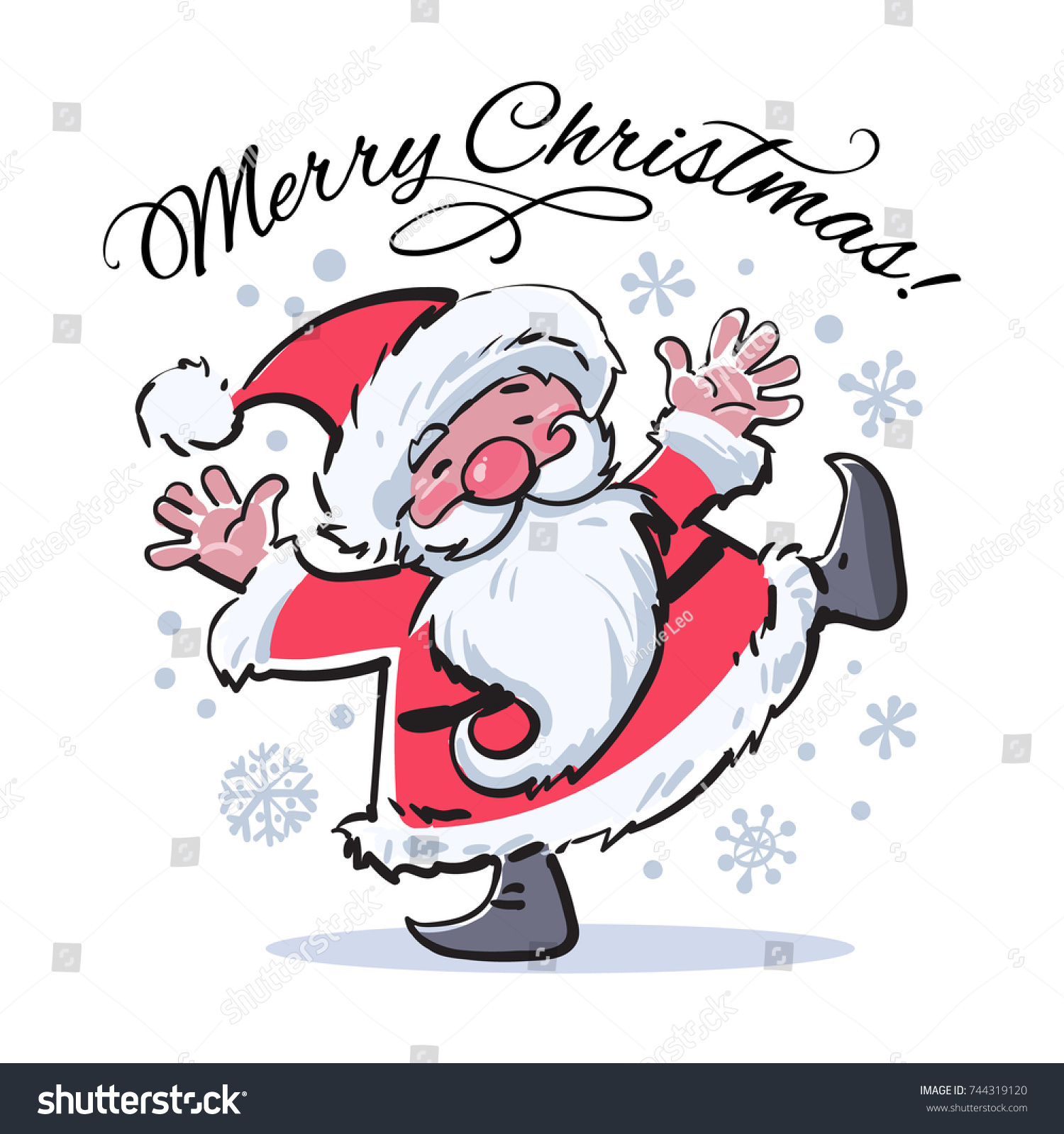 Funny Cartoon Santa Claus Merry Christmas Stock Vector (Royalty Free ...