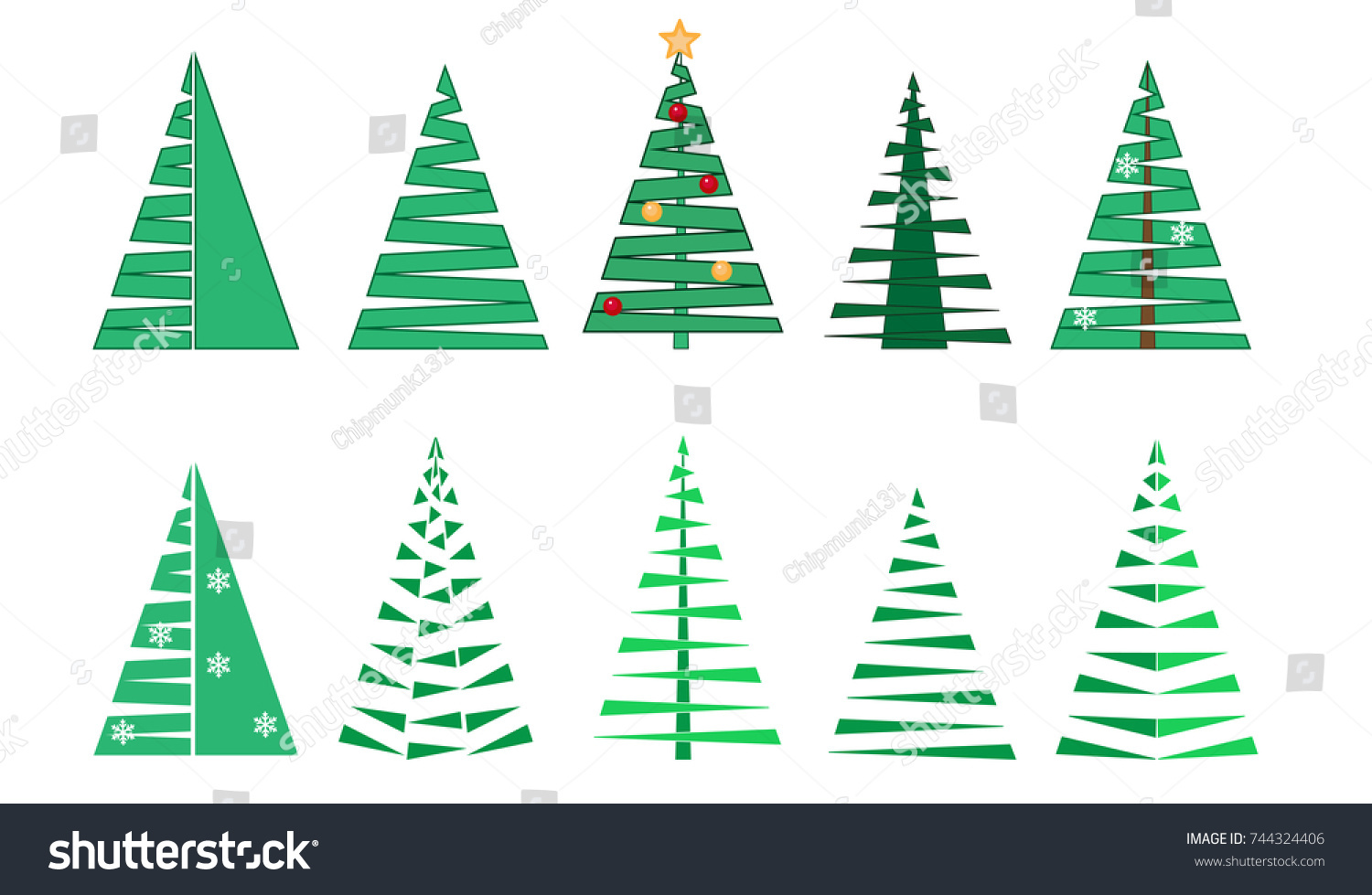 Collection Vector Silhouettes Fir Trees Different Stock Vector ...