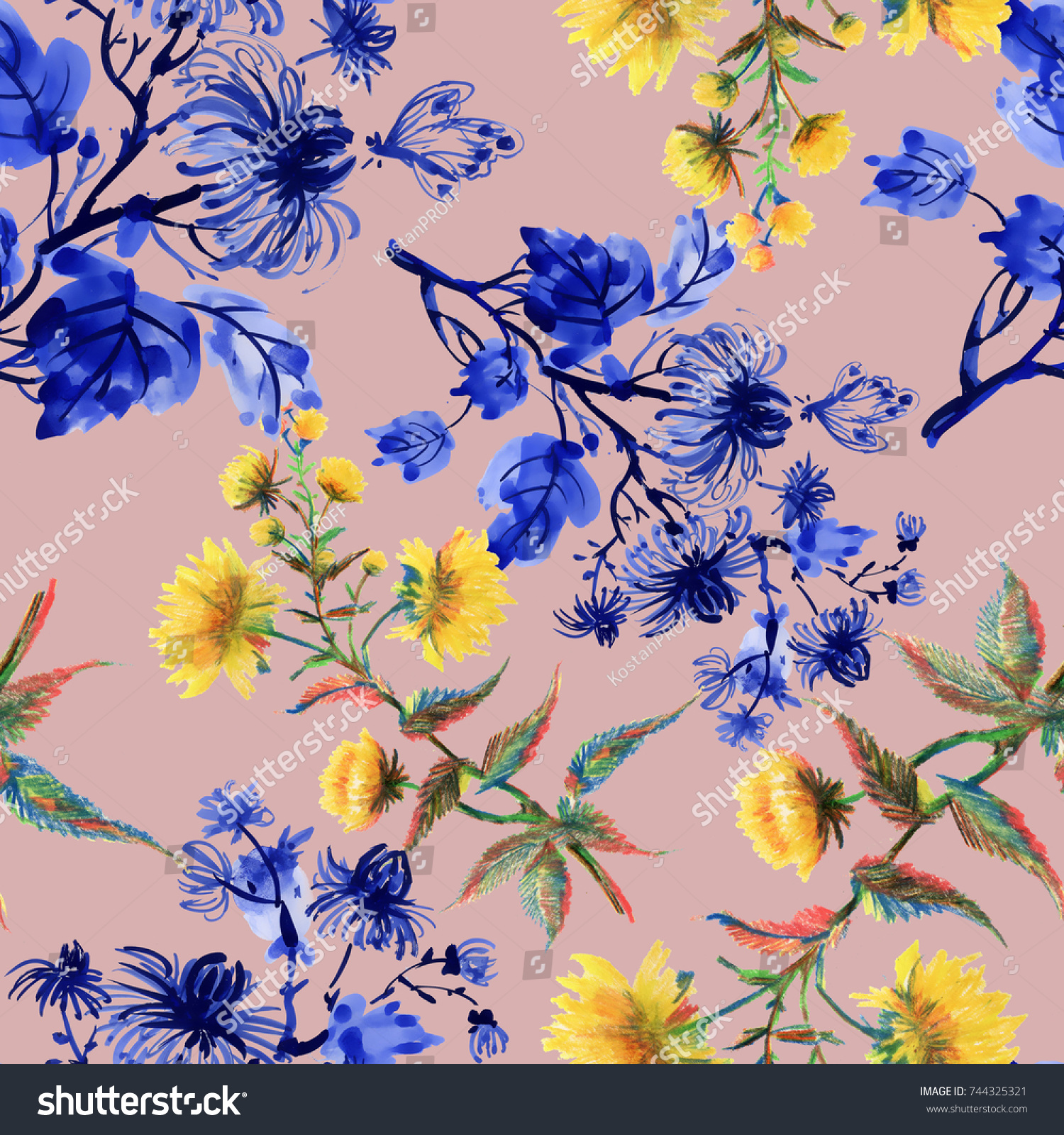 Watercolor Hand Drawn Seamless Pattern With Yellow And Blue Flowers