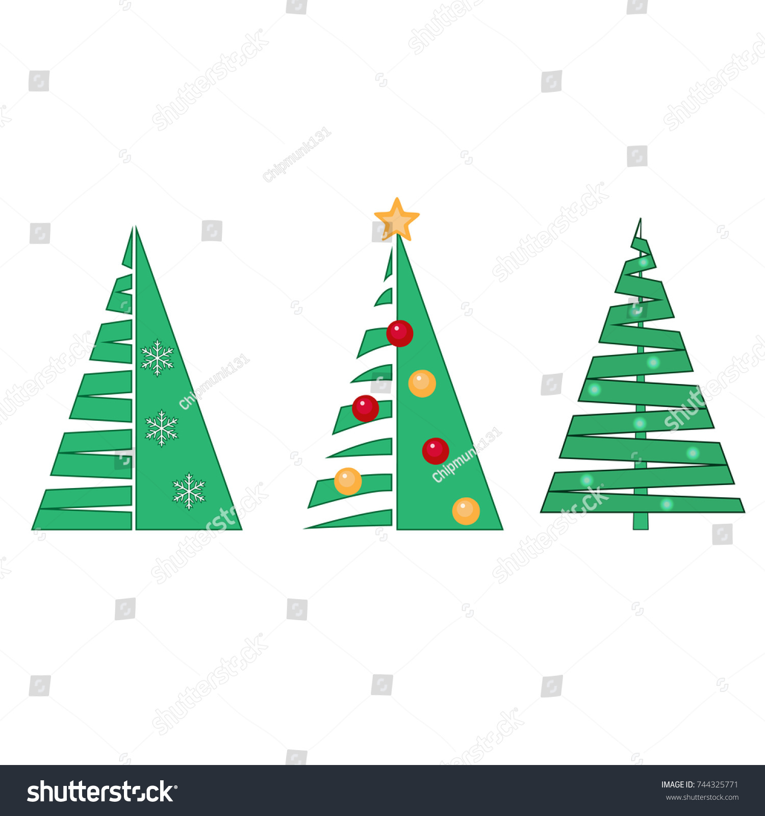 Christmas Collection Vector Silhouettes Fir Trees Stock Vector HD ...