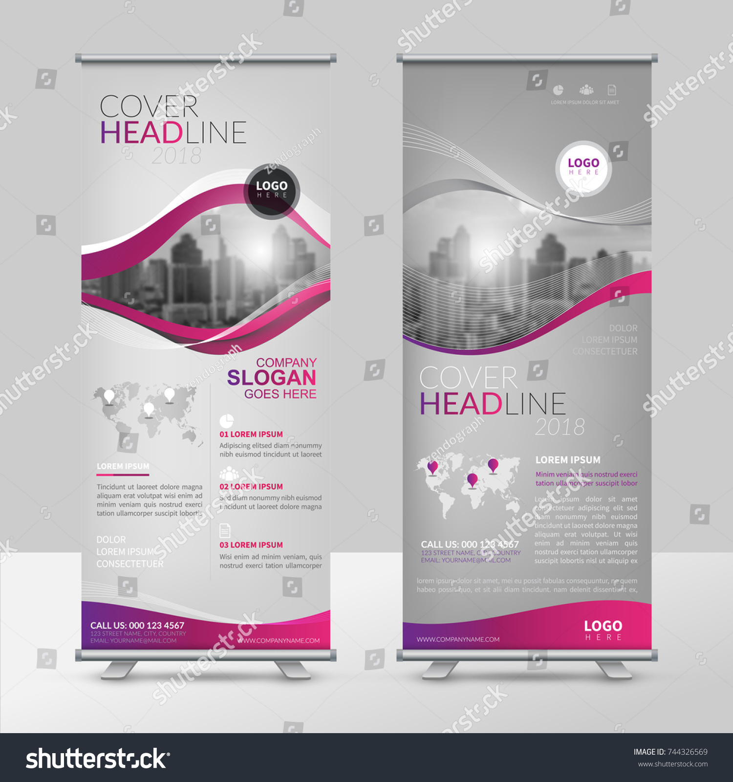 Business Roll Design Template Xstand Vertical Stock Vector 744326569 ...