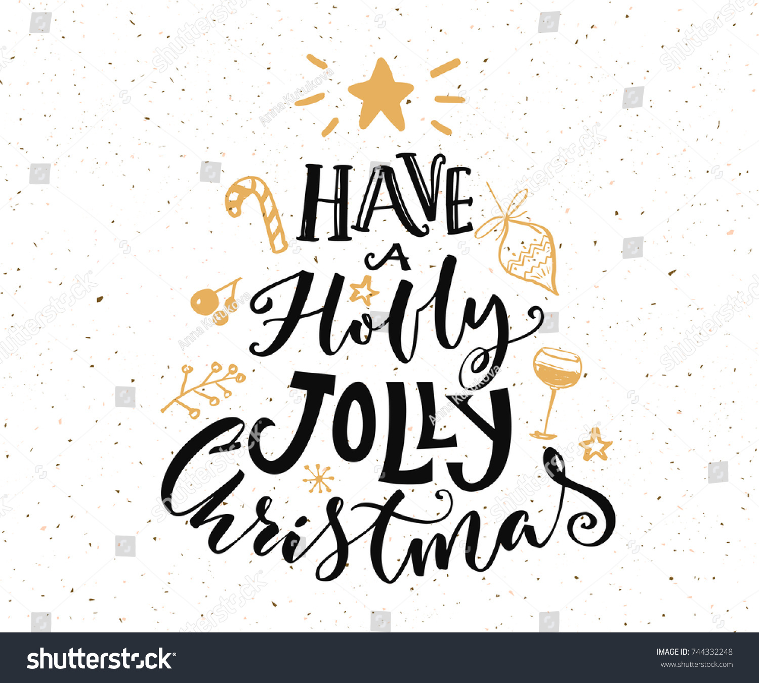 Have Holly Jolly Christmas Text Christmas Stock Vector (Royalty Free ...