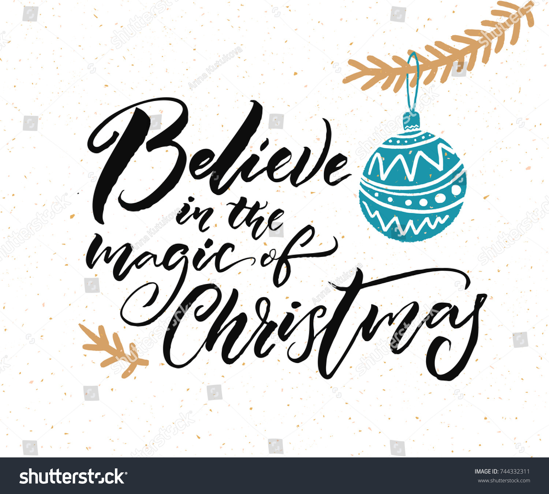 Believe Magic Christmas Calligraphy Caption Greeting Stock Vector ...