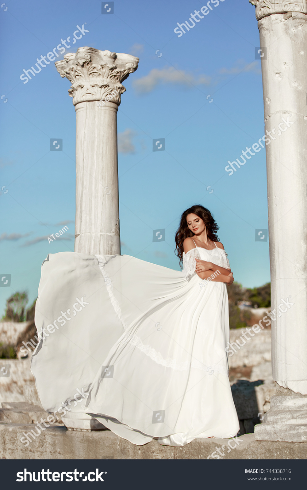 Beautiful Pregnant Woman Romantic Flying Dress Stock Photo (100 ...