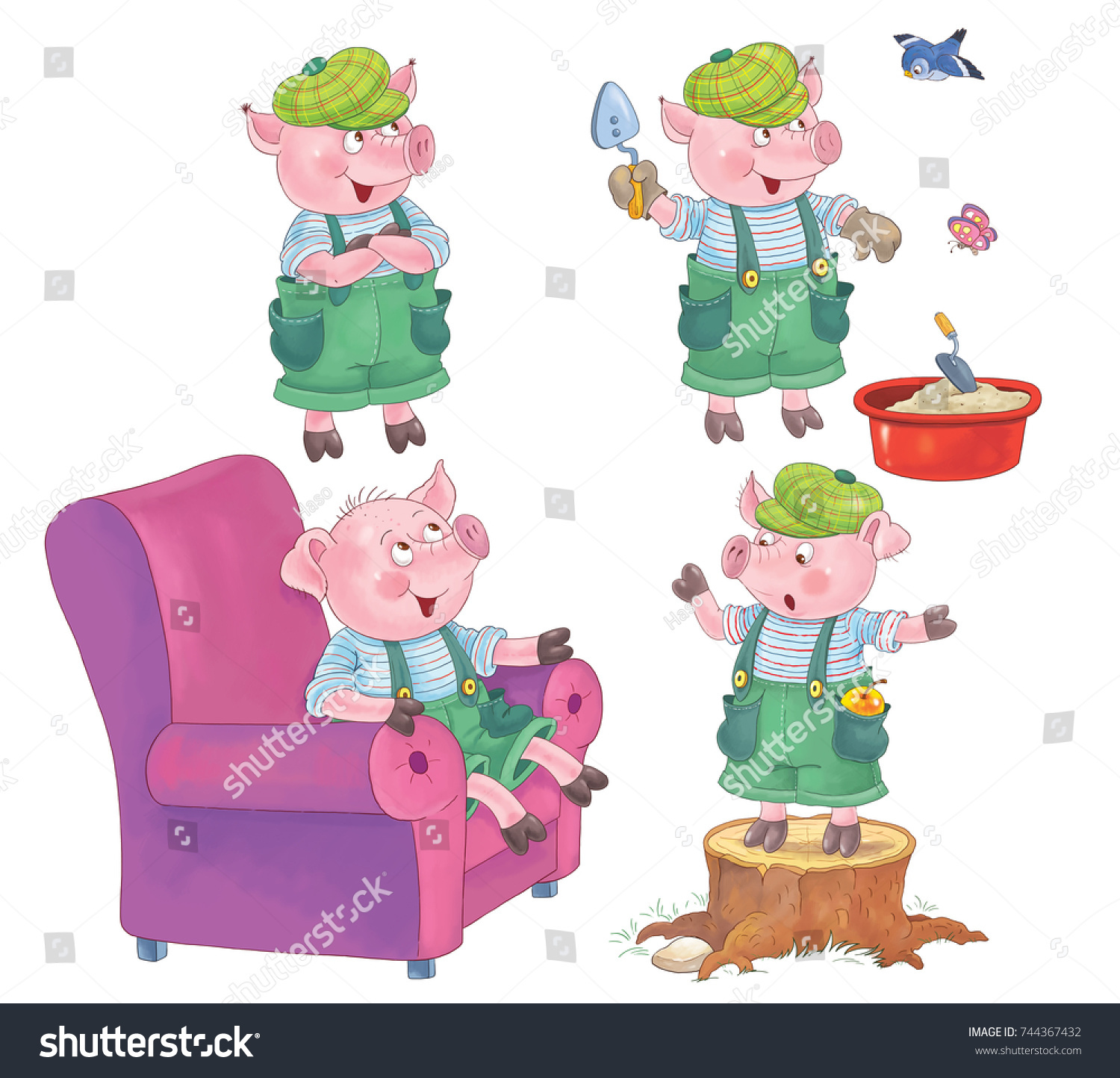 Three little pigs a cute pig fairy tale coloring book coloring page illustration for children funny cartoon characters isolated on white background