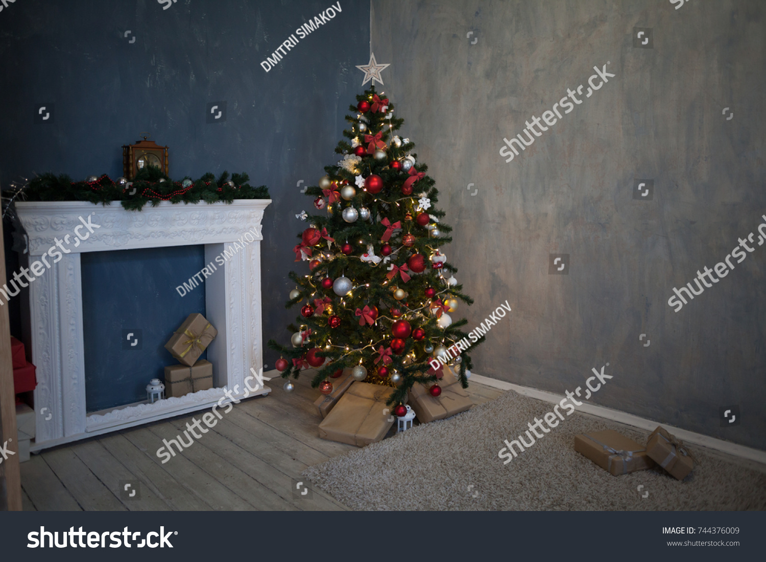 Christmas great tree with presents and lights new photo