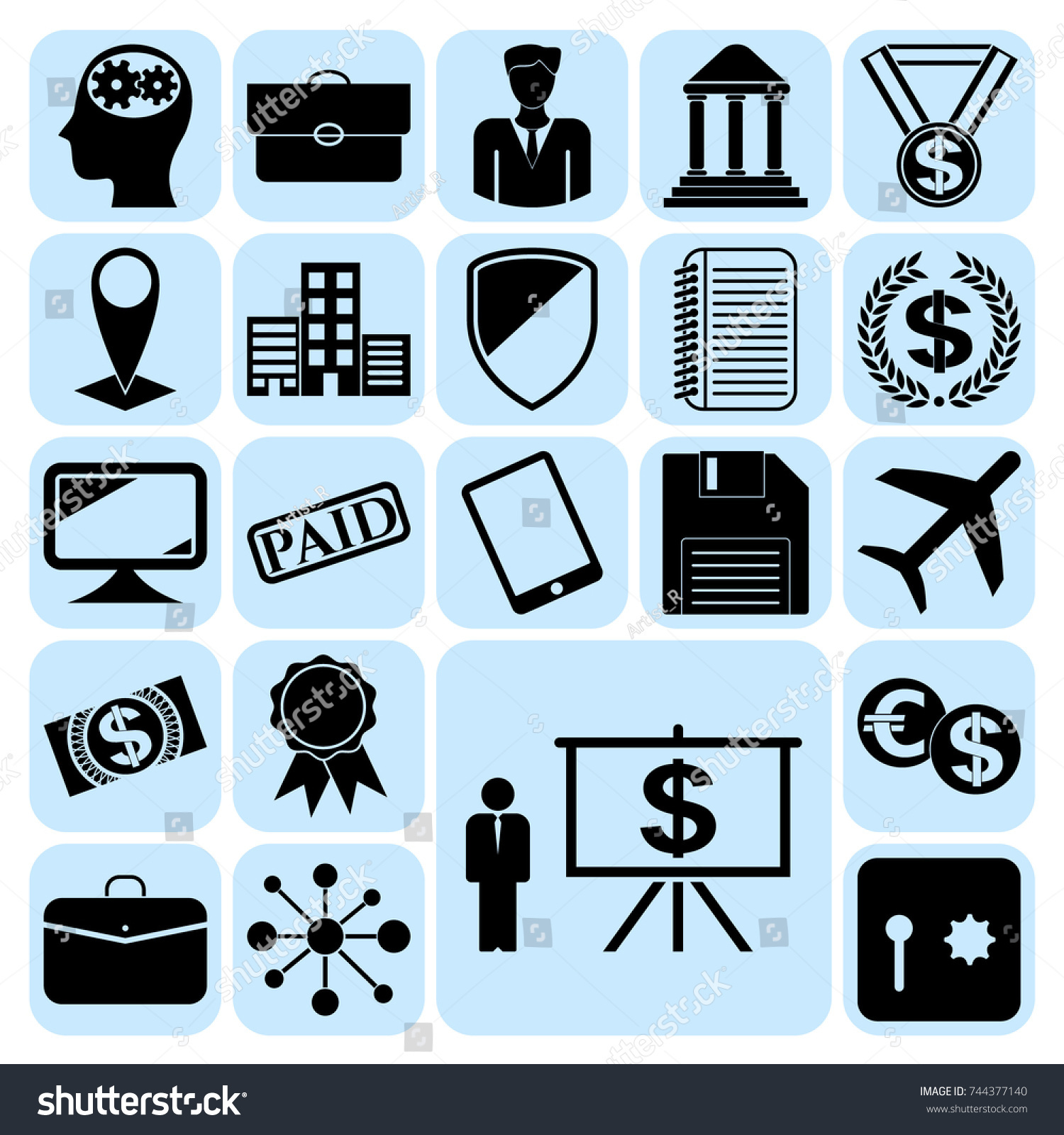 Set 22 Business High Quality Symbols Stock Vector 744377140