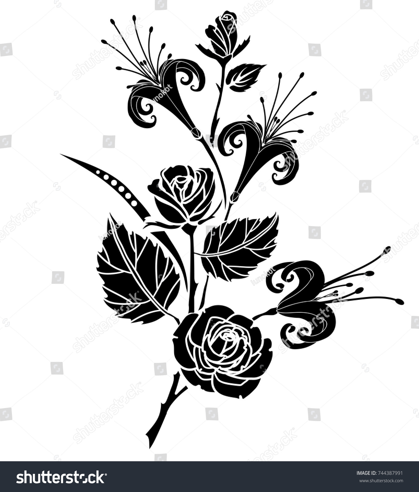 Lily rose tattoo silhouette lily flowers stock vector 744387991 lily and rose tattoo silhouette of lily flowers and leaves on a white background izmirmasajfo