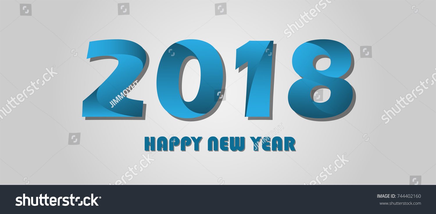 2018 happy new year text decoration stock vector 744402160 for A style text decoration