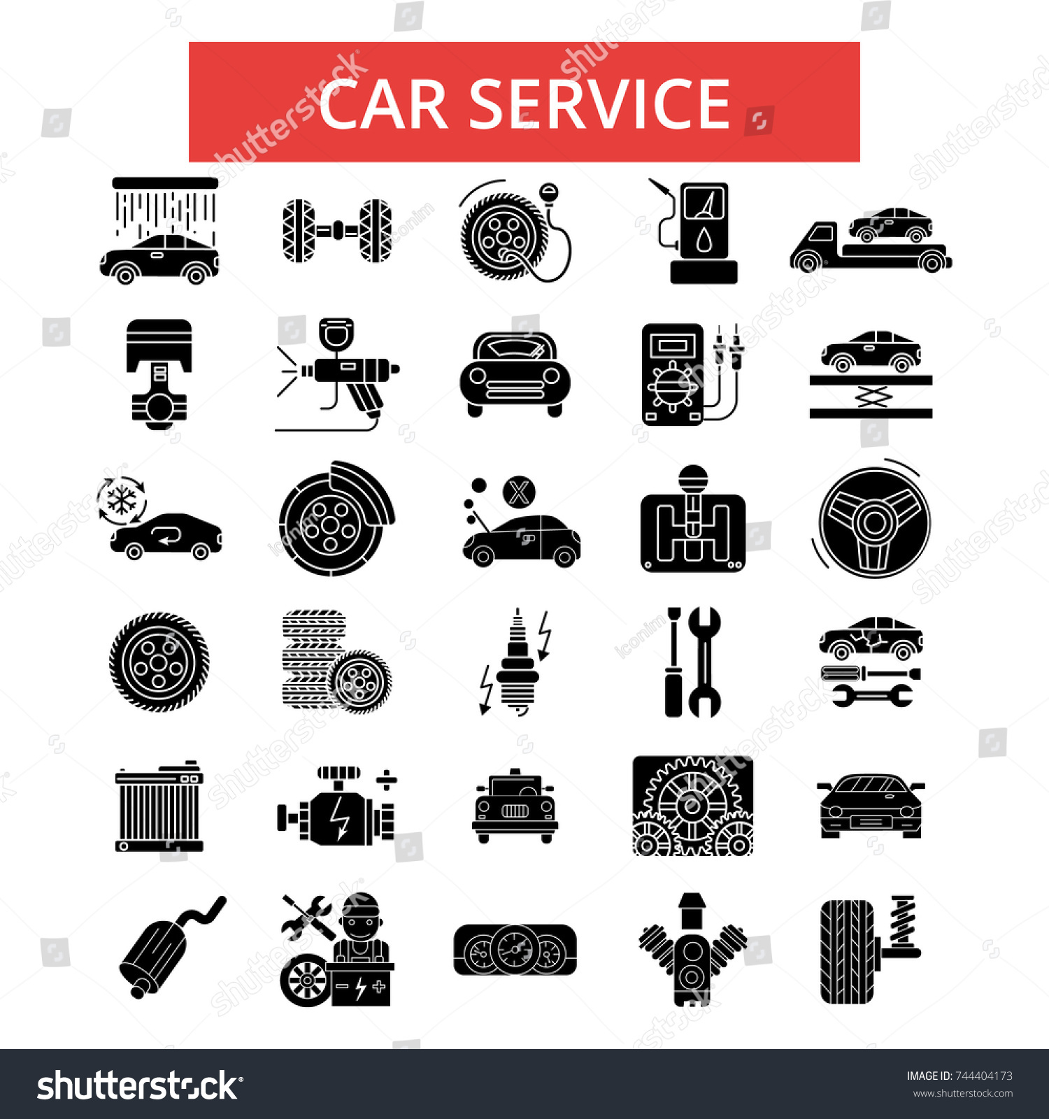 Car Service Illustration Thin Line Icons Stock Vector - Car signs and symbols